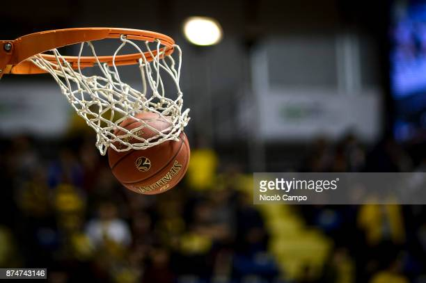 A ball enters the basket during the Eurocup match between Auxilium Fiat Torino and Cedevita Zagreb Cedevita Zagreb won 8765 over Auxilium Fiat Torino