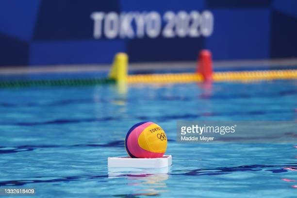 Ball floats on the surface of the pool during the Men's Classification 5th-8th match between Montenegro and Croatia on day fourteen of the Tokyo 2020...