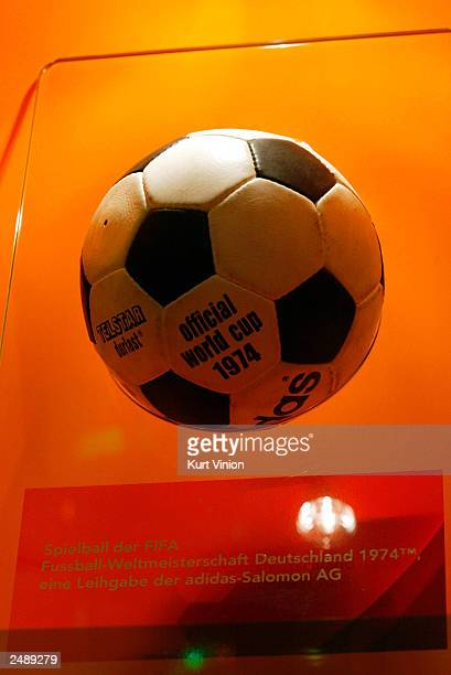 A ball from the 1974 World Cup is just one of the items on display in multimedia artist Andre Heller's 20meterhigh 'Soccer Globe FIFA World...