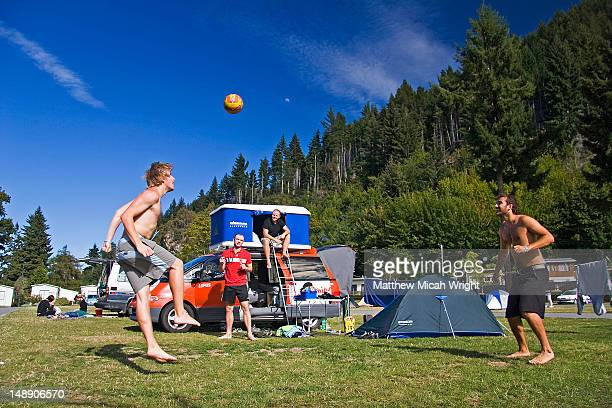 Ball game in Queenstown motor park campground.