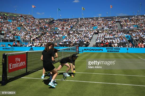 Ball girls in action during Day 1 of the FeverTree Championships at Queens Club on June 18 2018 in London United Kingdom