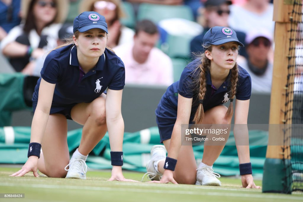 Ball Girls In Action On Court One During The Wimbledon -7612