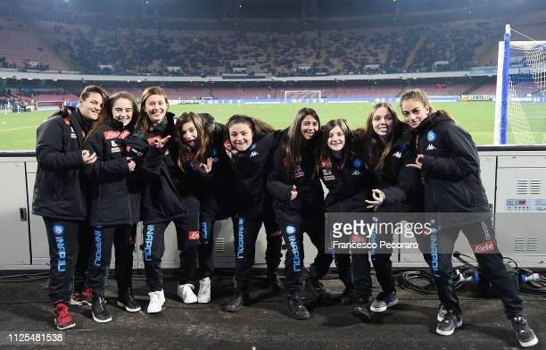 Ball girls replace ball boys for the first time during the Serie A match between SSC Napoli and Torino FC at Stadio San Paolo on February 17 2019 in...