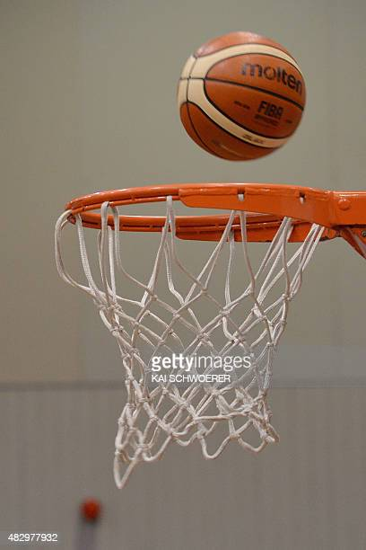 A ball goes into a basket during the international basketball match between the New Zealand Tall Ferns and Japan on August 5 2015 at Cowles Stadium...