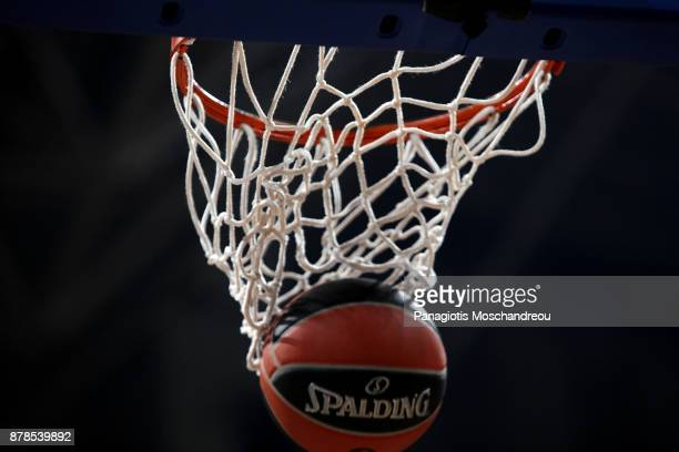 A ball inserts the basket during the warm up of the teams before the 2017/2018 Turkish Airlines EuroLeague Regular Season Round 9 game between...
