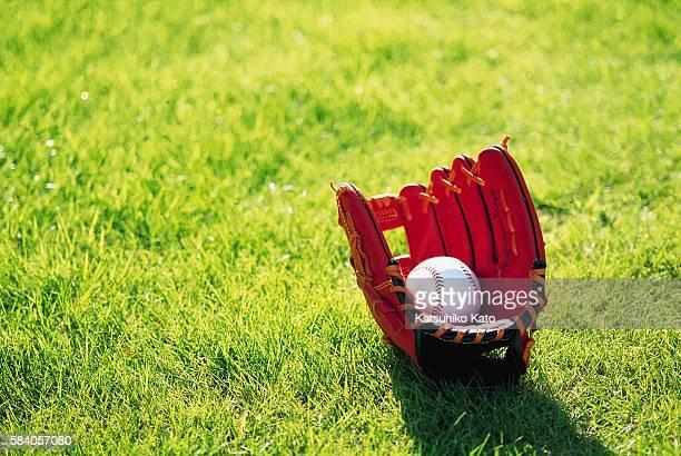 A Ball Inside a Baseball Glove on a Lawn