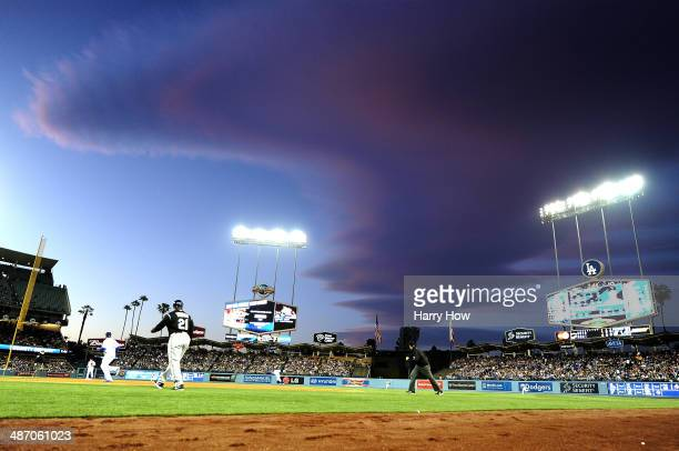 A ball is hit into centerfield during the game between the Colorado Rockies and the Los Angeles Dodgers at Dodger Stadium on April 26 2014 in Los...
