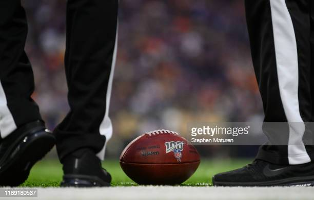 A ball is placed on the field in the second quarter of the game between the Minnesota Vikings and Denver Broncos at US Bank Stadium on November 17...
