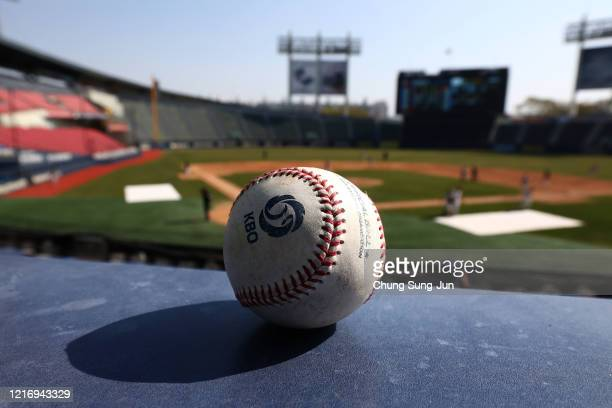 A ball is seen ahead of the LG Twins intrateam game broadcast online for their fans at a empty Jamshil baseball stadium as South Koreans take...