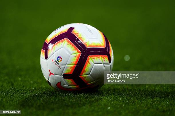 A ball is seen during the La Liga match between Girona FC and Real Madrid CF at Montilivi Stadium on August 26 2018 in Girona Spain