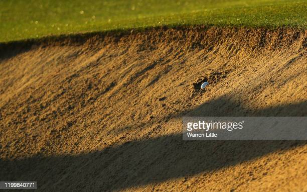 Ball is seen in a bunker on the 10th hole during Day 1 of the Abu Dhabi HSBC Championship at Abu Dhabi Golf Club on January 16, 2020 in Abu Dhabi,...