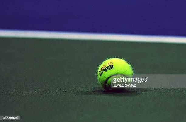 A ball is seen on the court during 2016 US Open Men's Singles match between Novak Djokovic of Serbia and Jerzy Janowicz of Poland at the USTA Billie...