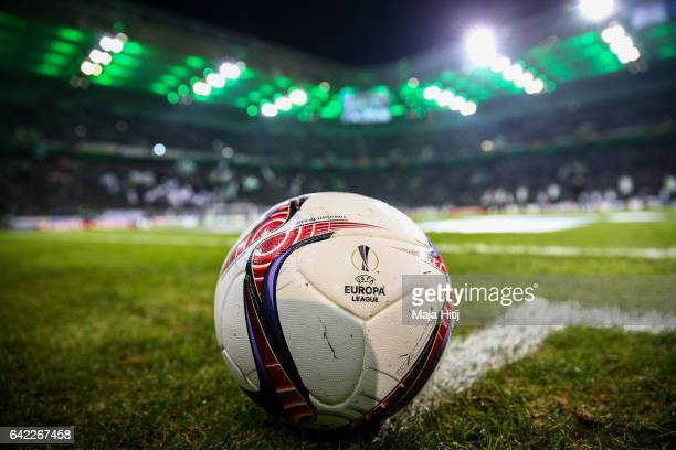 Ball is seen prior the UEFA Europa League Round of 32 first leg match between Borussia Moenchengladbach and ACF Fiorentina at Borussia Park Stadium...