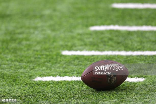 A ball its on the field prior to Super Bowl 51 between the New England Patriots and the Atlanta Falcons at NRG Stadium on February 5 2017 in Houston...