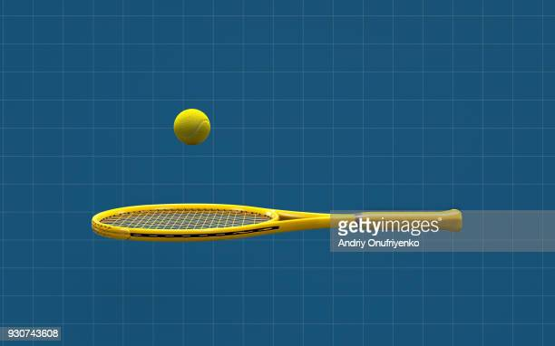 ball jumps over tennis racket on blue background - tennis racquet stock pictures, royalty-free photos & images