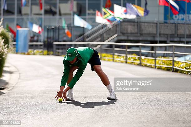 A ball kid practices behind Rod Laver Arena during day 1 of the 2016 Australian Open at Melbourne Park on January 18 2016 in Melbourne Australia