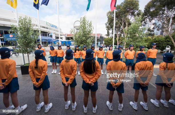 Ball kids await the opening ceremony with legends of the game Boris Becker and Billie Jean King on day one of the 2018 Australian Open at Melbourne...