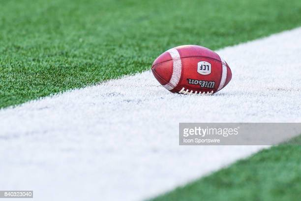 CFL ball left on the field during the Winnipeg Blue Bombers versus the Montreal Alouettes game on August 24 at Percival Molson Memorial Stadium in...