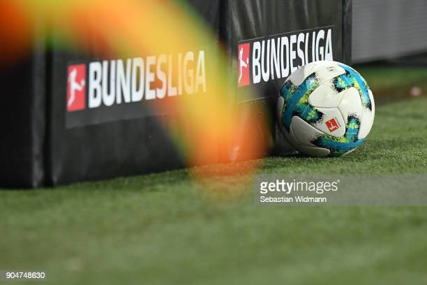 A ball lies next to the Bundesliga logo during the Bundesliga match between FC Augsburg and Hamburger SV at WWKArena on January 13 2018 in Augsburg...