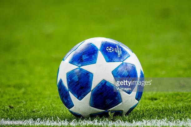 ball logo champions league during the UEFA Champions League group E match between Ajax Amsterdam and AEK FC at the Johan Cruijff Arena on September...