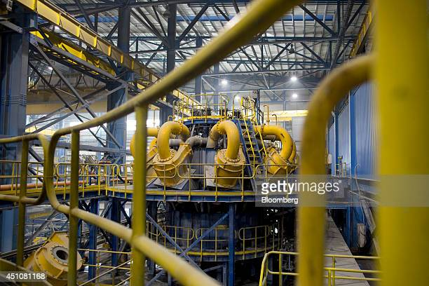 A ball mill stands inside the concentrator at the Oyu Tolgoi coppergold mine jointly owned by Rio Tinto Group's Turquoise Hill Resources Ltd unit and...