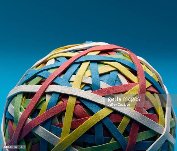 Ball of colored rubber bands, close-up