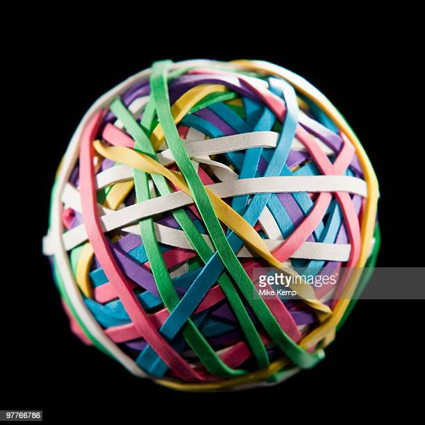 Ball of colorful rubber bands