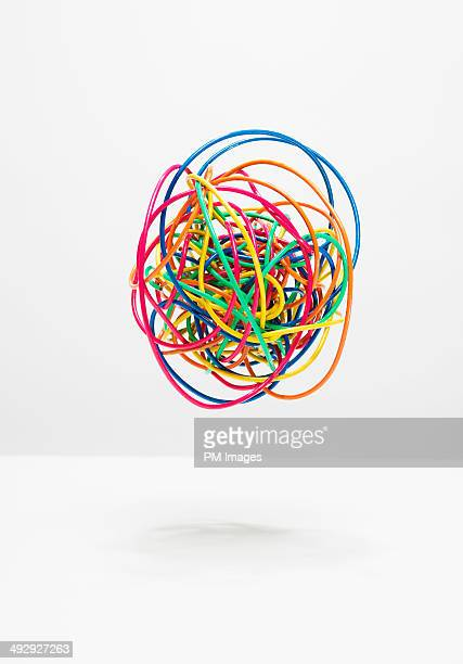 ball of colorful wires - complicated stock photos and pictures