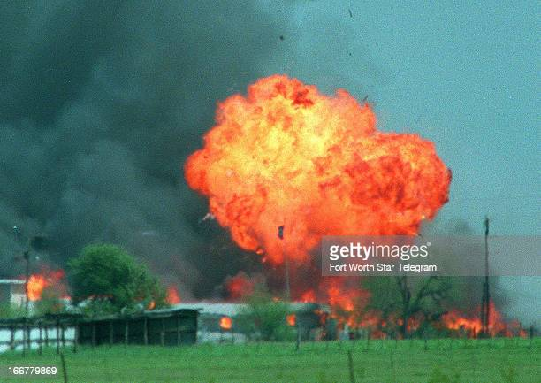 A ball of fire erupts from the Branch Davidian compound in Waco Texas April 19 1993 Eightyone Davidians including leader David Koresh perished as...