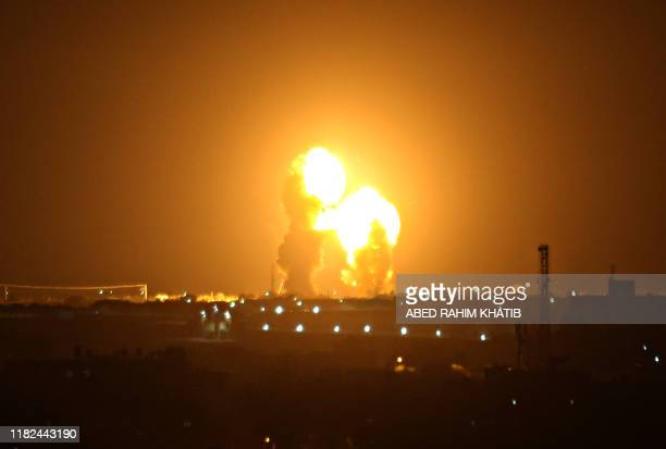 Ball of fire is seen following an Israel airstrike in Khan Yunis in the southern Gaza Strip early on November 15, 2019. - An Israel launched fresh...