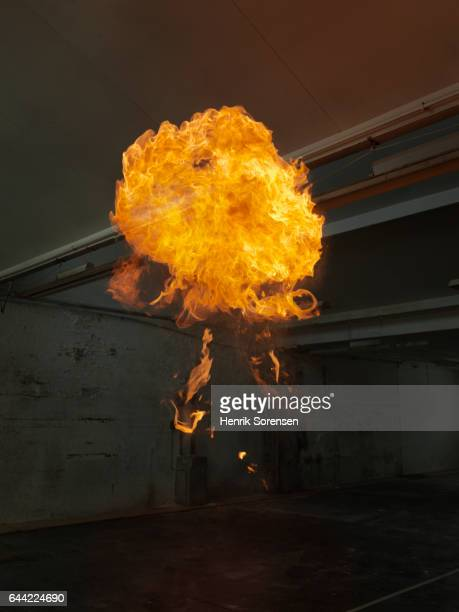 Ball of flames rising inside warehouse