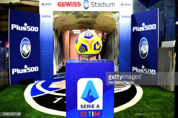 Ball of Nike and serie A logo is displayed prior the Serie A match between Atalanta BC and AS Roma at Gewiss Stadium on December 20, 2020 in Bergamo,...