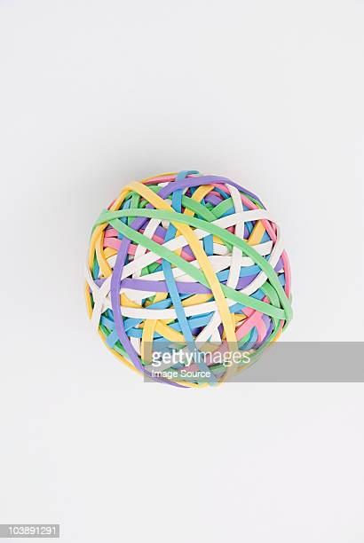 ball of rubber bands - manufactured object stock pictures, royalty-free photos & images