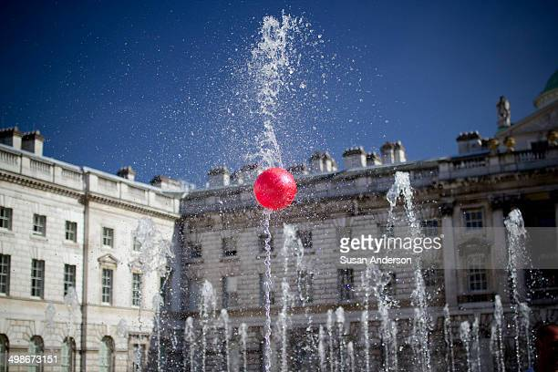 Ball on a dancing fountain in Somerset House, London.
