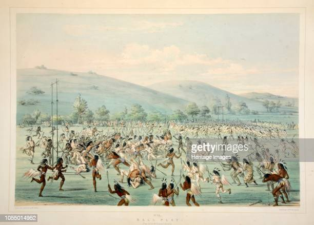 Ball Play from Catlin's North American Indian Portfolio Hunting Scenes and Amusements of the Rocky Mountains and Prairies of America pub 1845 Artist...