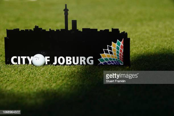 Ball rests by a tee marker during the first round of the South African Open at Randpark Golf Club on December 6, 2018 in Johannesburg, South Africa.