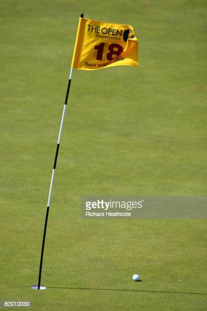 A ball rests by a windy 18th green flag during the final round of the 137th Open Championship on July 20 2008 at Royal Birkdale Golf Club Southport...
