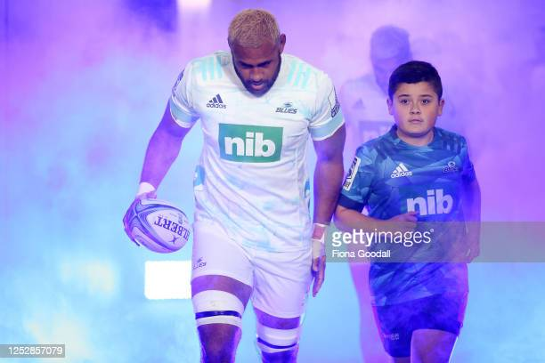 Ball runner Caelan White runs on with Patrick Tuipulotu of the Blues during the round 3 Super Rugby Aotearoa match between the Blues and the...