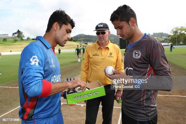 Ball selection for Afganistan during the ICC U19 Cricket World Cup match between Afghanistan v Ireland at Cobham Oval on January 20 2018 in Whangarei...