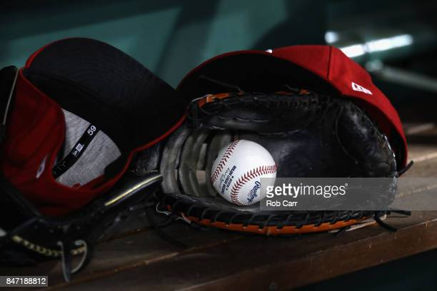 A ball sits in the glove of a Washington Nationals player during the Nationals game against the Atlanta Braves at Nationals Park on September 14 2017...