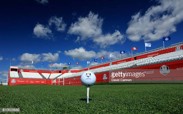 Ball sits on a tee at the first tee prior to the 2016 Ryder Cup at Hazeltine National Golf Club on September 26, 2016 in Chaska, Minnesota.