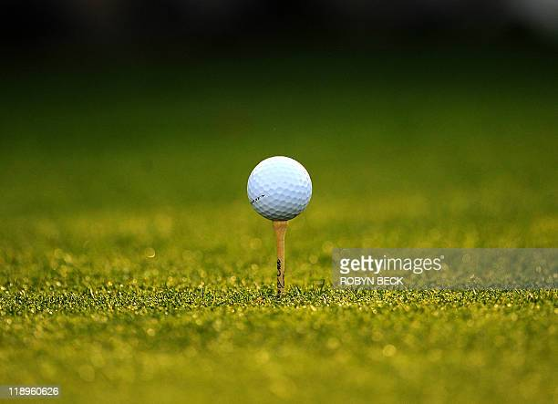 A ball sits on a tee during the second round of the Masters golf tournament at Augusta National Golf Club on April 8 2011 in Augusta Georgia AFP...