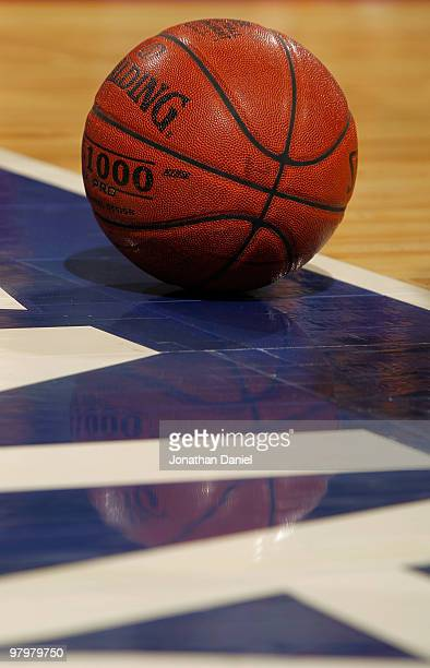 Ball sits on the court during the game between the Purdue Boilermakers against the Minnesota Golden Gophers in the semifinals of the Big Ten Men's...