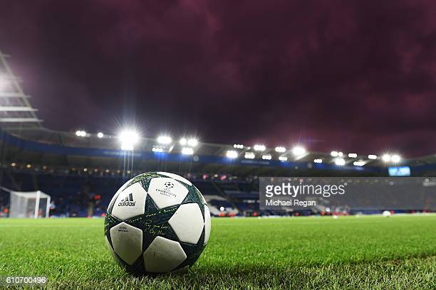 A ball sits on the turf prior to the UEFA Champions League Group G match between Leicester City FC and FC Porto at The King Power Stadium on...