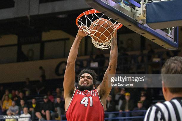 Ball State Cardinals C Trey Moses scores with a slam dunk during the second half of the NCAA Men's Basketball game between the Ball State Cardinals...
