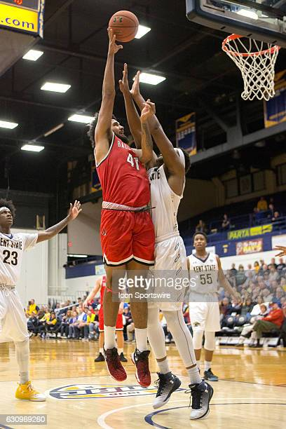 Ball State Cardinals C Trey Moses shoots as Kent State Golden Flashes C Adonis De La Rosa defends during the second half of the NCAA Men's Basketball...