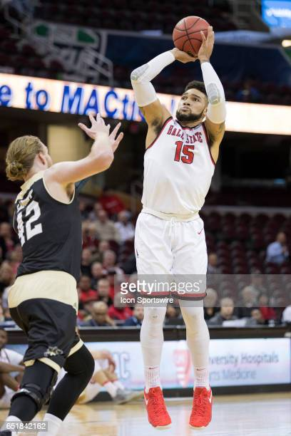 Ball State Cardinals F Franko House shoots as Western Michigan Broncos C Drake LaMont defends during the first half of the MAC mens basketball...