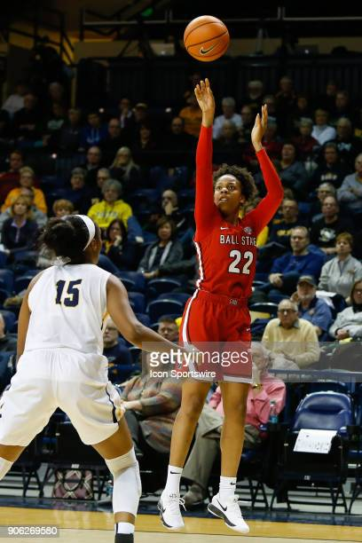 Ball State Cardinals forward Destiny Washington shoots a jump shot during the first half of a regular season MidAmerican Conference game between the...