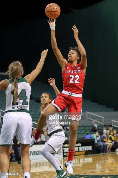 Ball State Cardinals forward Destiny Washington shoots as Cleveland State Vikings forward Rachel Slaney defends during the second quarter of the...
