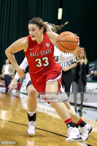 Ball State Cardinals forward Moriah Monaco drives to the basket during the second quarter of the women's college basketball game between the Ball...